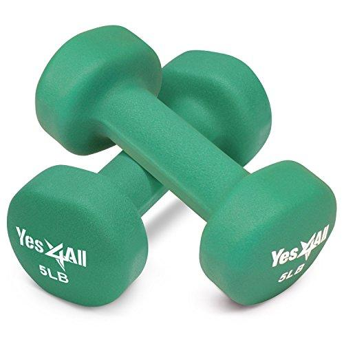Yes4All 5 lbs Dumbbells Neoprene with Non Slip Grip – Great for Total Body Workout – Total Weight: 10 lbs (Set of 2)