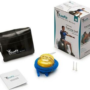 LuxFit Exercise Ball, Premium Extra Thick Yoga Ball '2 Year Warranty' - Swiss Ball Includes Foot Pump. Anti-Burst - Slip Resistant! 45cm, 55cm, 65cm, 75cm, 85cm Size Fitness Balls (Black, 45cm)