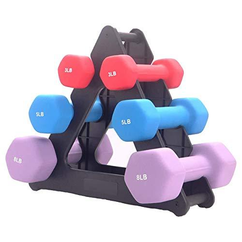 Dumbbell Set with Rack, Hex Weights Barbell Rubber Workout Dumbbells for Strength Training for Women Men (3LBs 5LBs 8LBs)