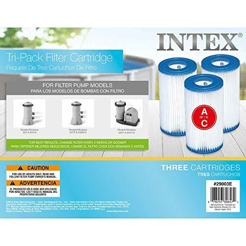 Intex FBA_29003E Type A Filter Cartridge for Pools, Three Pack, 3-Pack, Brown/A