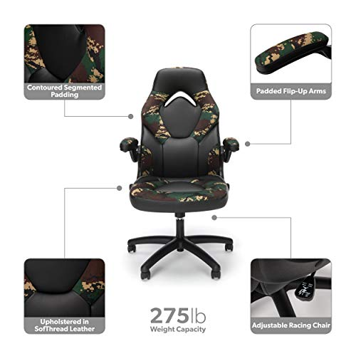 Ofm Essentials Collection Racing Style Bonded Leather Gaming Chair In Forest Camo Ess 3085 Fst Cats Luv Us Deals