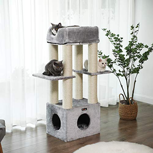 Feandrea Cat Tree For Large Cat Cat Tower With 2 In 1 Perch Light Gray Upct04w Cats Luv Us Deals